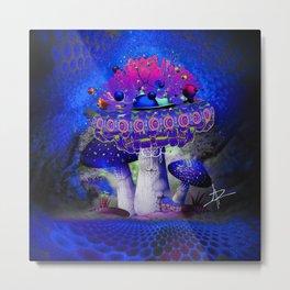 Wild Blue Shrooms Metal Print