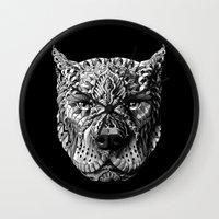 pitbull Wall Clocks featuring Pitbull by BIOWORKZ