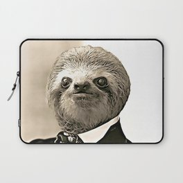Gentleman Sloth in Authoritative Pose - Cartoon Laptop Sleeve