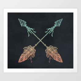 Arrows Turquoise Coral on Navy Art Print