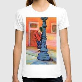 Boy swinging on lamp post T-shirt