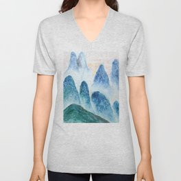 dawn in the mountain forest Unisex V-Neck