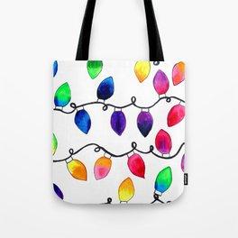Colorful Christmas Holiday Light Bulbs Tote Bag