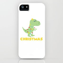 Christmas Tree T Rex Dinosaur Funny Gift iPhone Case