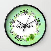 slytherin Wall Clocks featuring HP Slytherin in Watercolor by Snazzy Sisters