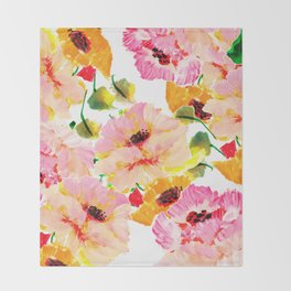 pink orange poppies floral Throw Blanket
