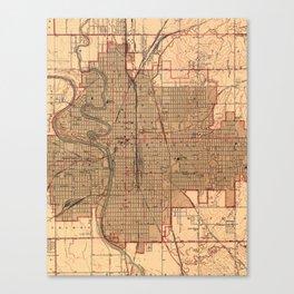 Vintage Map of Wichita Kansas (1943) Canvas Print