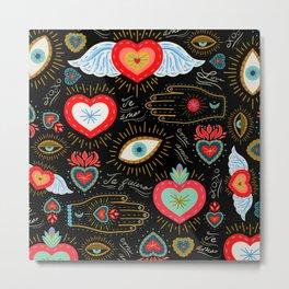 Milagro Love Hearts - Black Metal Print