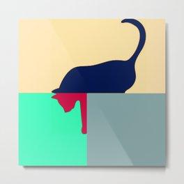 Cat design bold colours Metal Print