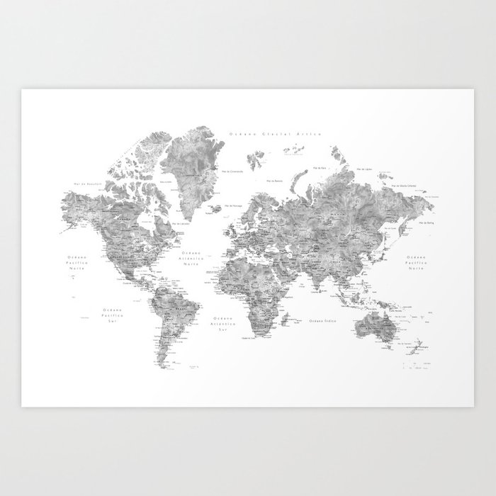 World map with labels in spanish, gray watercolor Art Print by blursbyaishop