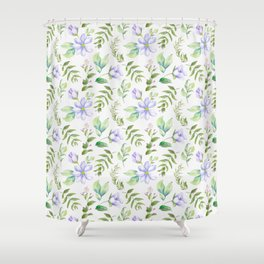 Watercolor lavender lilac green hand painted floral Shower Curtain