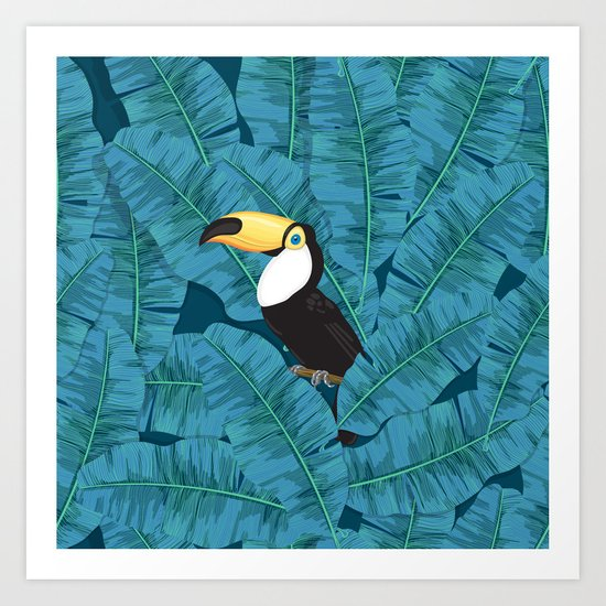 Toucan and banana leaves in blue Art Print
