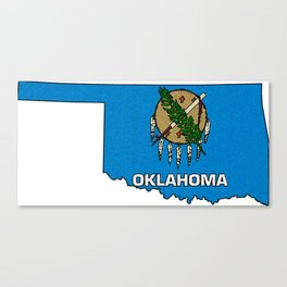 Oklahoma Map with State Flag Canvas Print