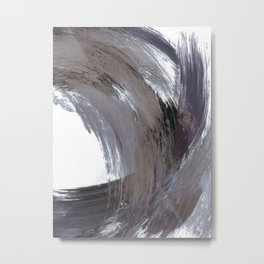 Navy Blue and Grey Minimalist Abstract Brushstroke Painting Metal Print