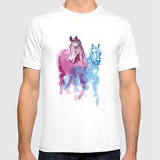 Two horses White Mens Fitted Tee MEDIUM