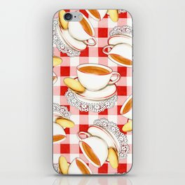 Cup of Tea, a Biscuit and Red Gingham iPhone Skin