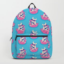 Frenchie enjoys Summer on Flamingo Pool Float in swimming pool Backpack