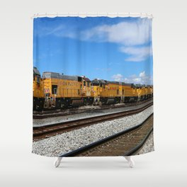 An Endless Row Of Union Pacific Diesel Engines Shower Curtain