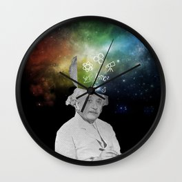 Albert Einstein With A Rainbow Galaxy Wall Clock