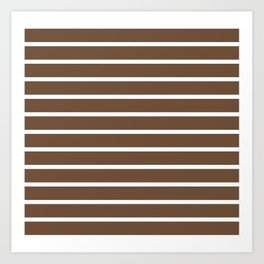 Horizontal Lines (White/Coffee) Art Print