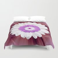 psychedelic art Duvet Covers featuring Psychedelic Floral Art by Colorful Art