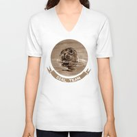 seal V-neck T-shirts featuring seal - sepia by ARTito
