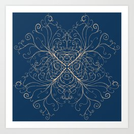 Swirling trees on calm dark indigo blue Art Print