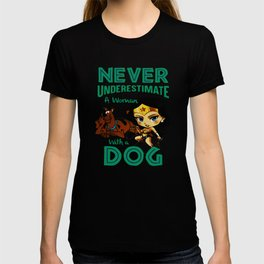 woman with a dog T-shirt