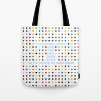 30 seconds to mars Tote Bags featuring Thirty Seconds To Mars ; Conquistador by Wis Marvin