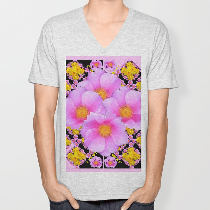 Asymmetrical Black-Pink Wild Rose Floral Pattern Unisex V-Neck