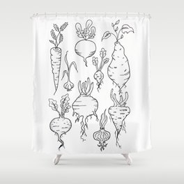 Root Vegetable Study Illustration Shower Curtain