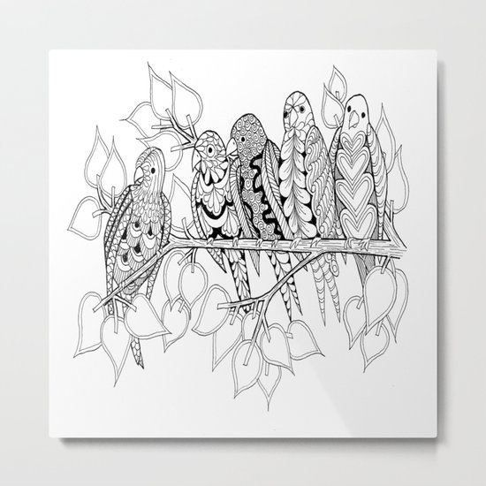 NOT Angry Birds - Zentangle Illustration Metal Print