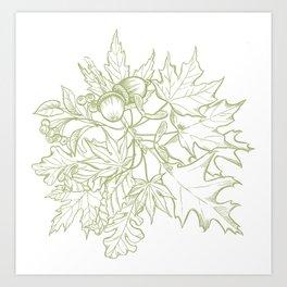 Leaf Mix Green Art Print
