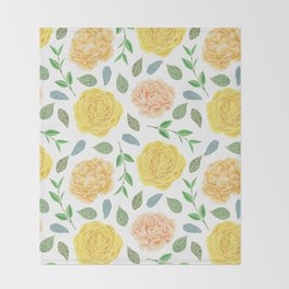 Hand painted yellow coral watercolor modern floral Throw Blanket