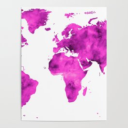 World Map Magenta Planet Poster
