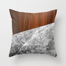 Wooden Marble Throw Pillow