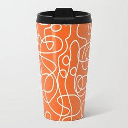 Doodle Line Art | White Lines on Persimmon Orange Travel Mug