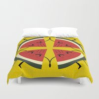 watermelon Duvet Covers featuring watermelon by ValoValo