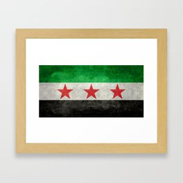 Independence flag of Syria, vintage retro style Framed Art Print