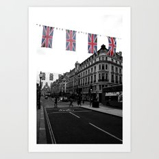 Buses and Bunting, black&white Art Print