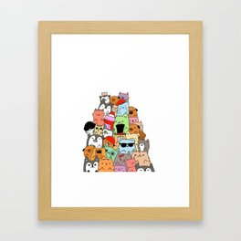 Cute Cats and Dogs Doodle Framed Art Print