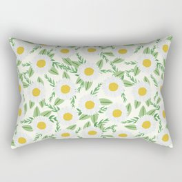 Daisies botanical floral print minimal flowers basic florals pattern charlotte winter Rectangular Pillow
