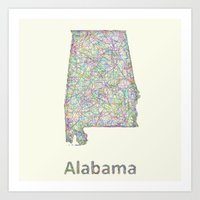 alabama Art Prints featuring Alabama map by David Zydd