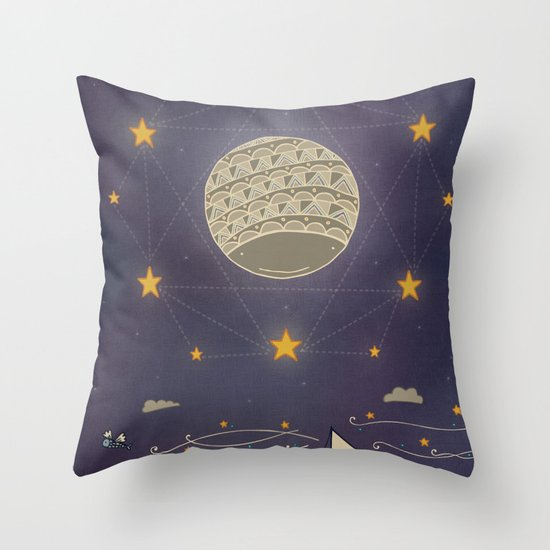 Sailing under the moon Throw Pillow