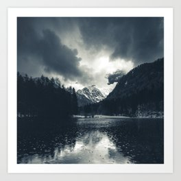 Darkness and rain at Zgornje Jezersko, Slovenia Art Print