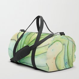 Peacock Feather Green Texture and Bubbles Duffle Bag