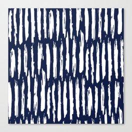 Vertical Dash White on Navy Blue Paint Stripes Canvas Print