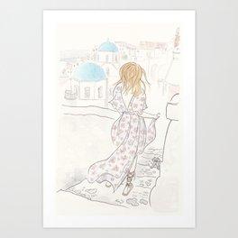Santorini Travels Boho Fashion Illustration Art Print