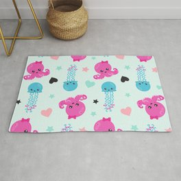 Sea Animals, Octopuses, Jellyfishes, Hearts, Stars Rug