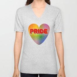 Pride Word with Triangulated Rainbow Background Unisex V-Neck